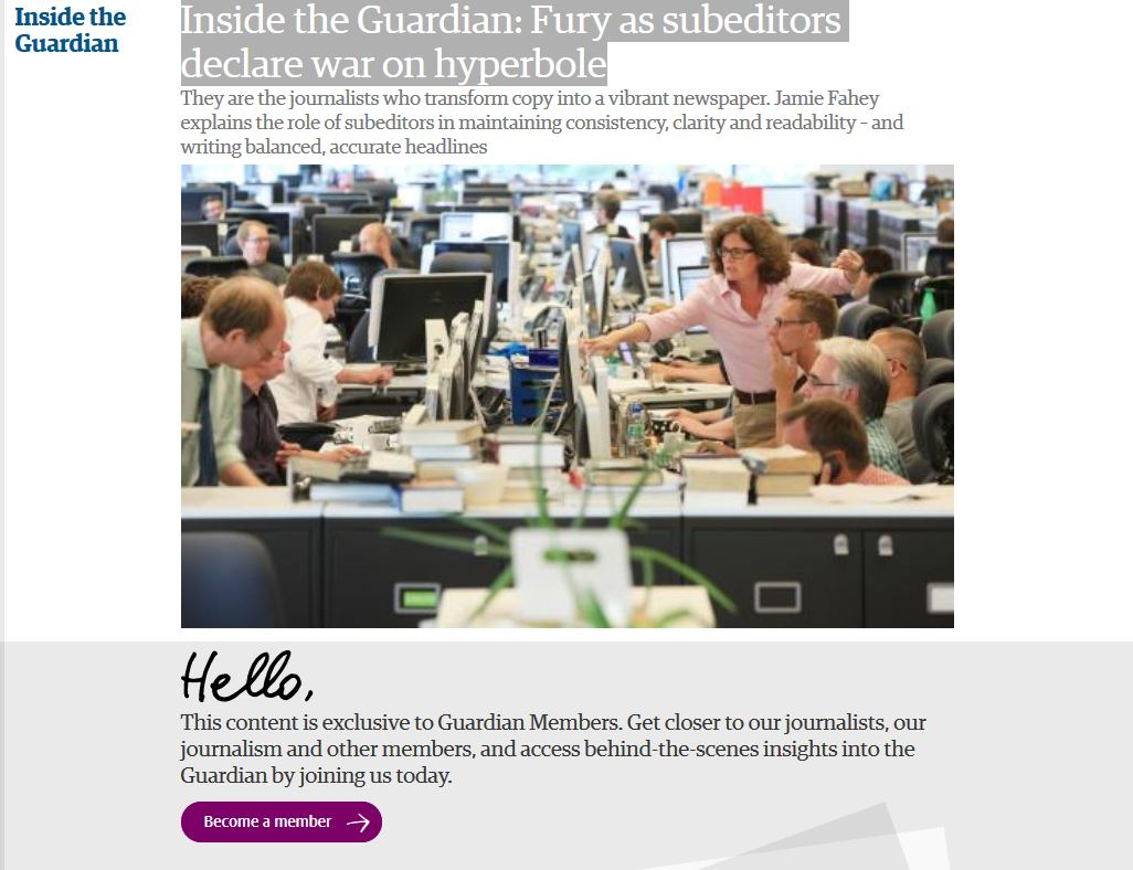 Guardian's 64-word definition of a sub-editor leads to raised eyebrows down-table