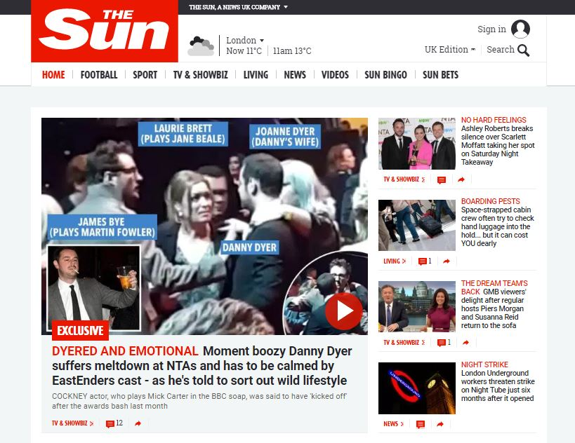 The Sun cites Comscore data to say it is now the number two UK newspaper online