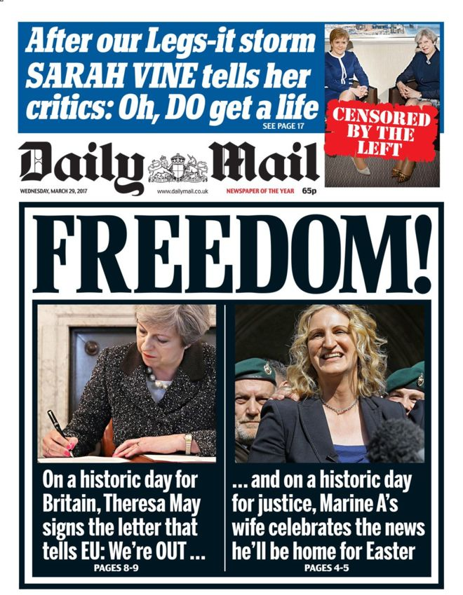 How the UK papers covered historic signing of Article 50 ...