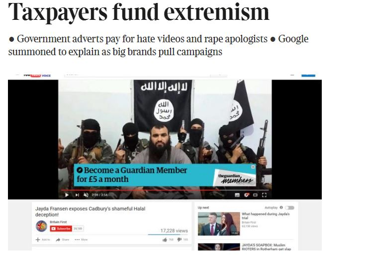 Government and Guardian suspend Youtube ads after Times revelations over extremist material