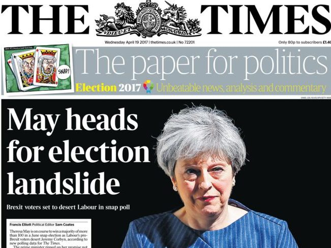 National press voices support for Tories as Times and FT back Theresa May's snap election