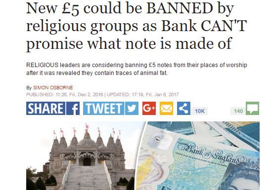 Express corrects story suggesting Muslims wanted to ban new fivers, but IPSO rules no breach of code
