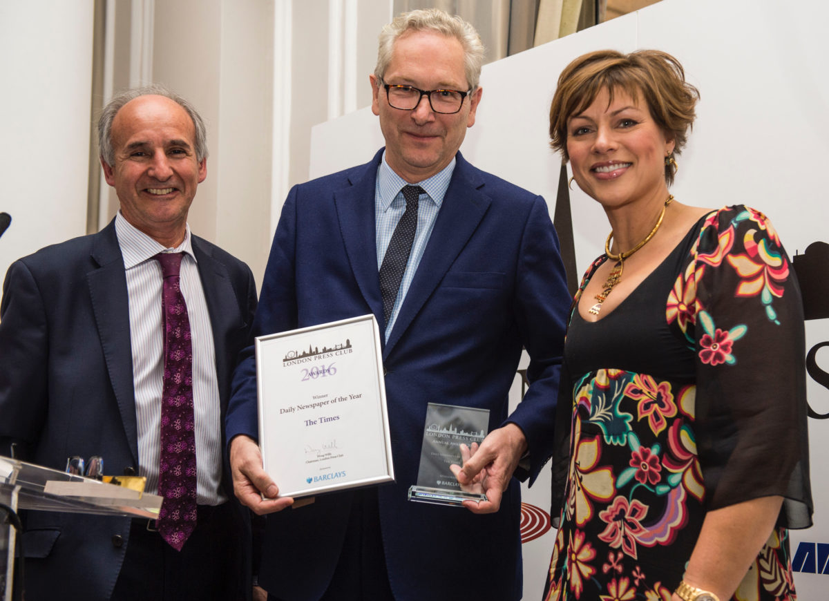 Paywall plea from Witherow as Times titles take newspaper of the year double at London Press Club awards