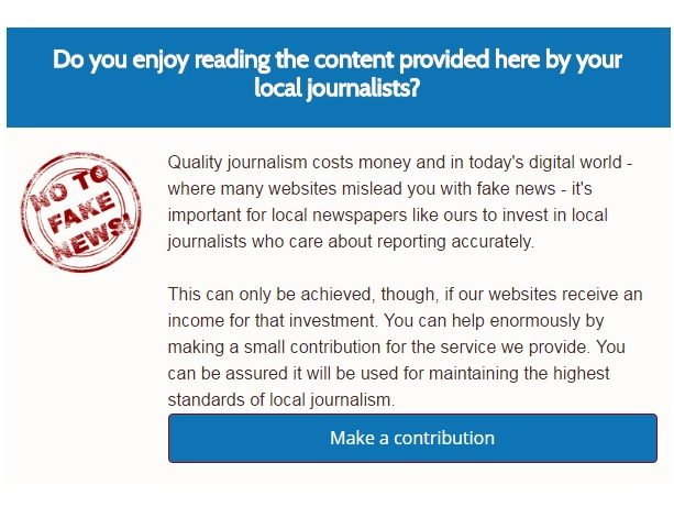 Regional titles appeal to readers for donations to 'fight fake news' and keep online content free