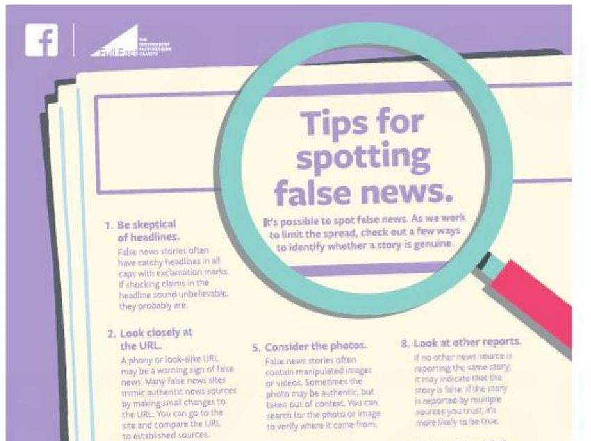 Full-page Facebook ad offers readers of up-market UK newspapers tips on spotting fake news