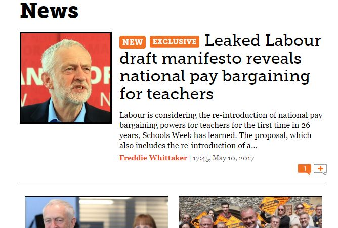Schools Week first out of the blocks with Labour manifesto leak, Mirror and Telegraph first with the full story