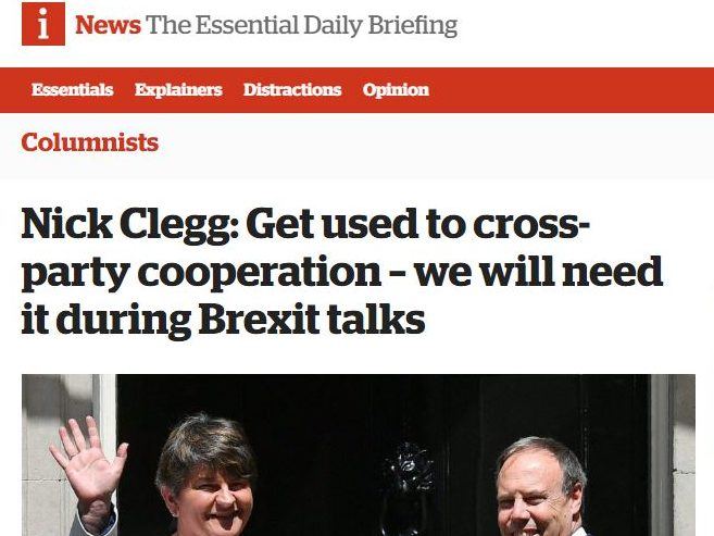 Nick Clegg lands fortnightly column in the i newspaper after losing parliamentary seat