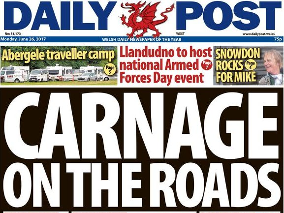 Daily Post editor defends 'carnage' road crash deaths headline after police chief calls it 'heartless'