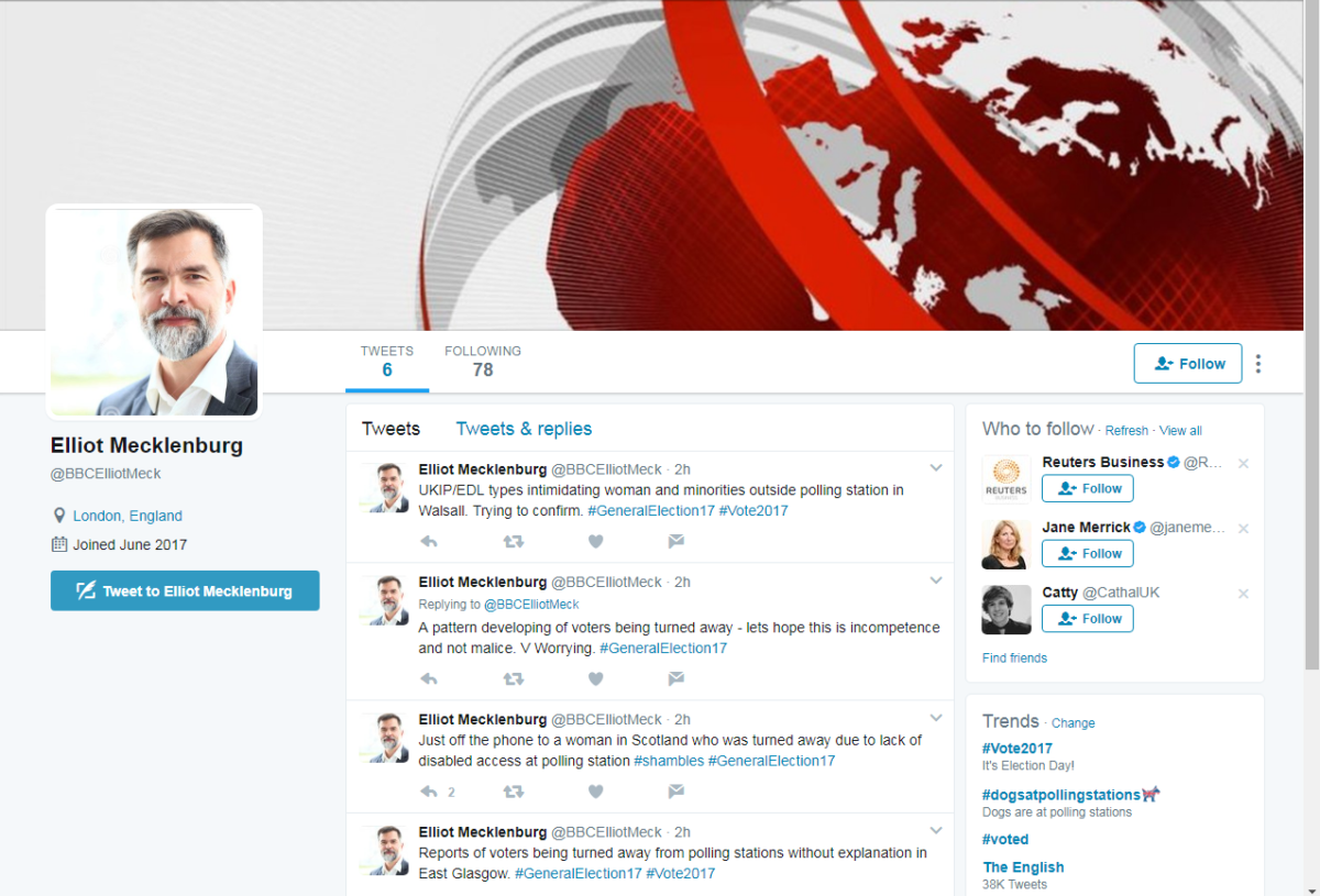 Hoax Twitter account poses as BBC journalist and posts fake news about polling stations