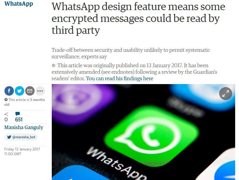 Guardian Readers' Editor says mistakes in WhatsApp security article might have put activists at risk