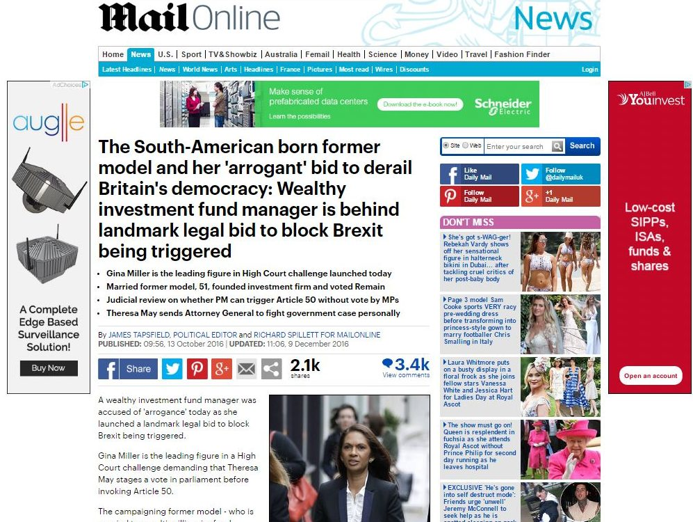Anti-Brexit campaigner Gina Miller has complaints against Express and Mail rejected by IPSO - but Sun meets her and removes article