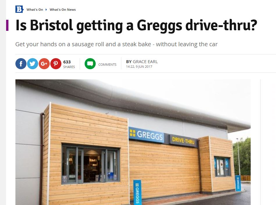 Clickbait? From Somerset to Grimsby, Trinity Mirror websites ask whether drive-thru Greggs is coming to their patch