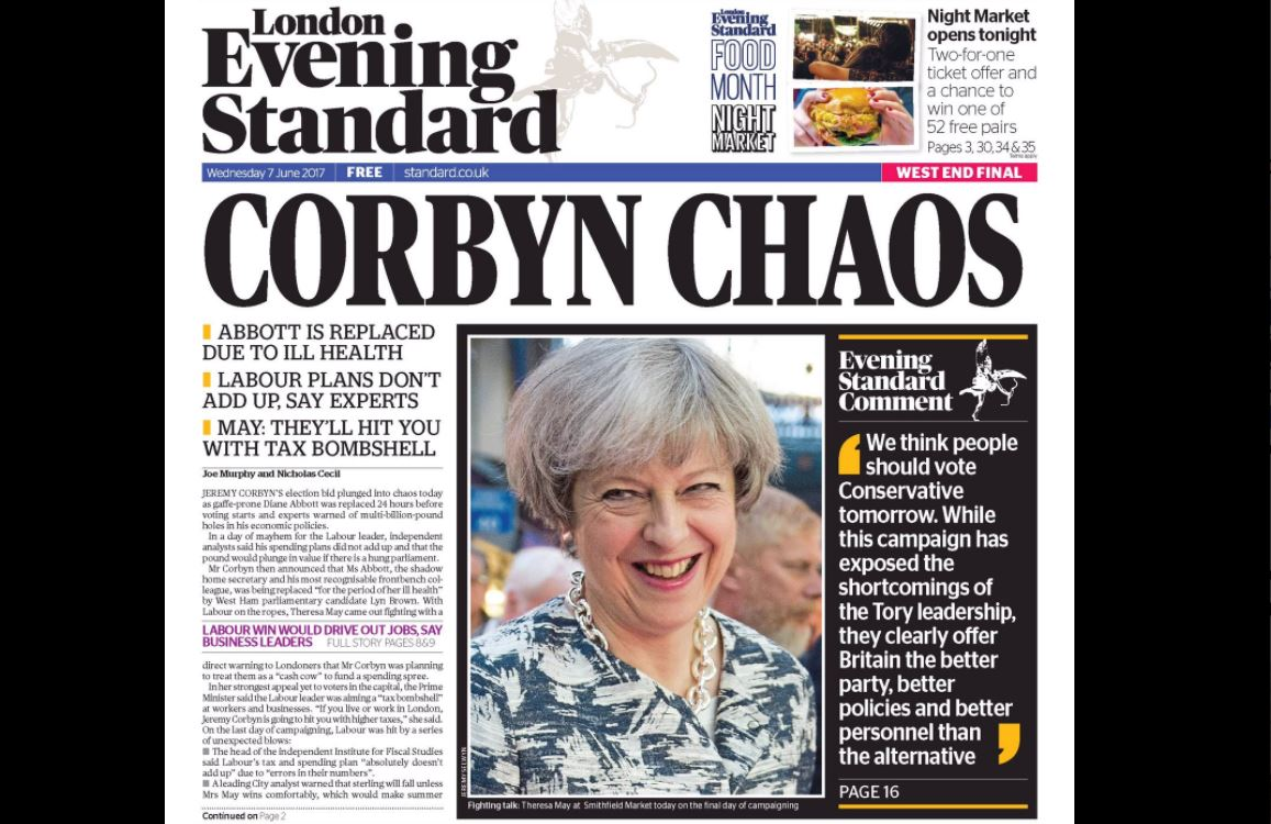 George Osborne puts full weight of Evening Standard behind Tories with front-page editorial