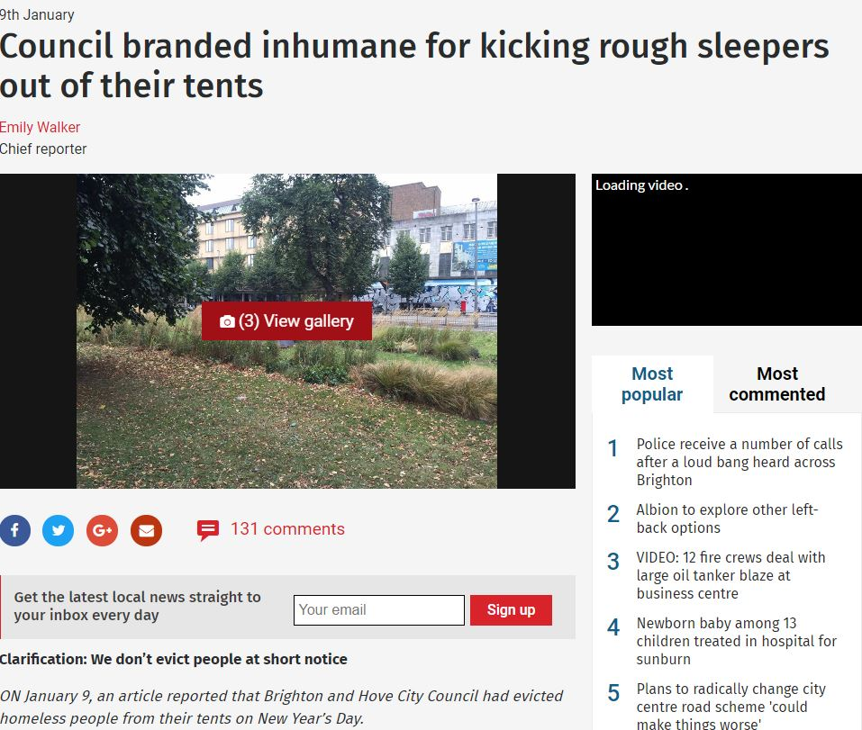 Brighton Argus story about rough sleeper evictions inaccurate says IPSO