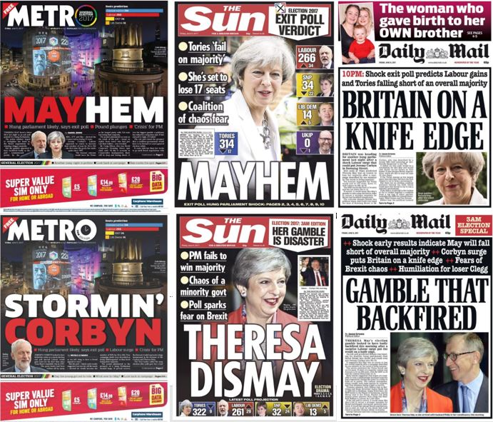From Mayhem to Theresa Dismay - how front pages changed through the night to reflect UK's surprise election result