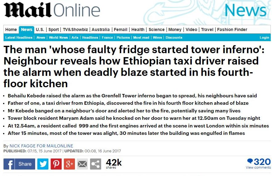 1,500 complain to IPSO over Mail Online story naming Grenfell Tower resident 'whose fridge exploded'