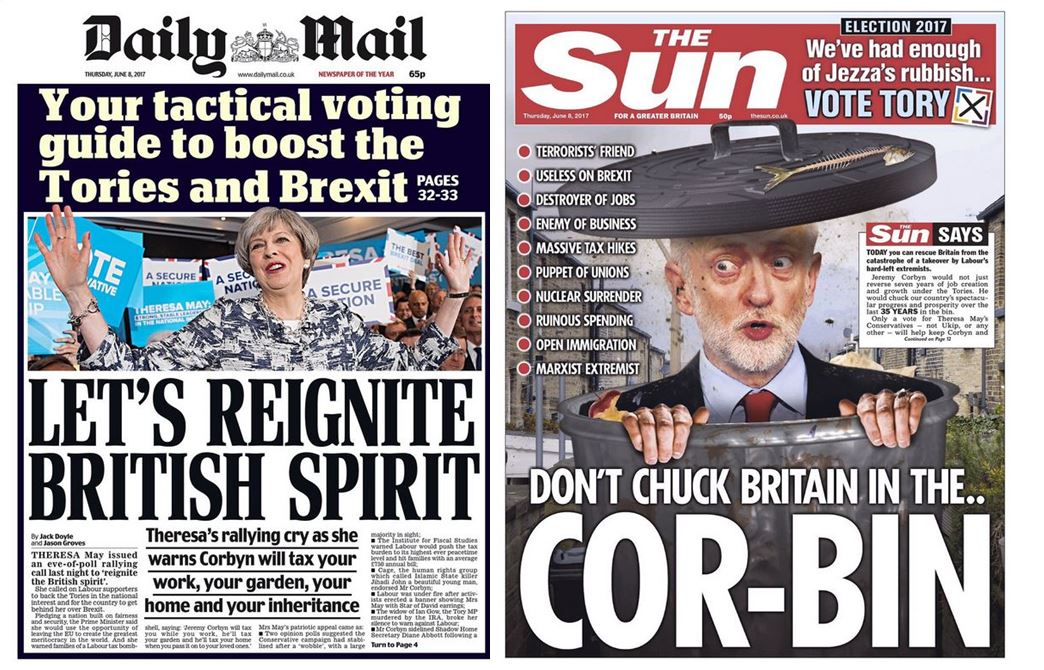 Sun warns of 'apocalypse' if Labour wins as Telegraph, Express and Daily Mail also give May front page polling day support