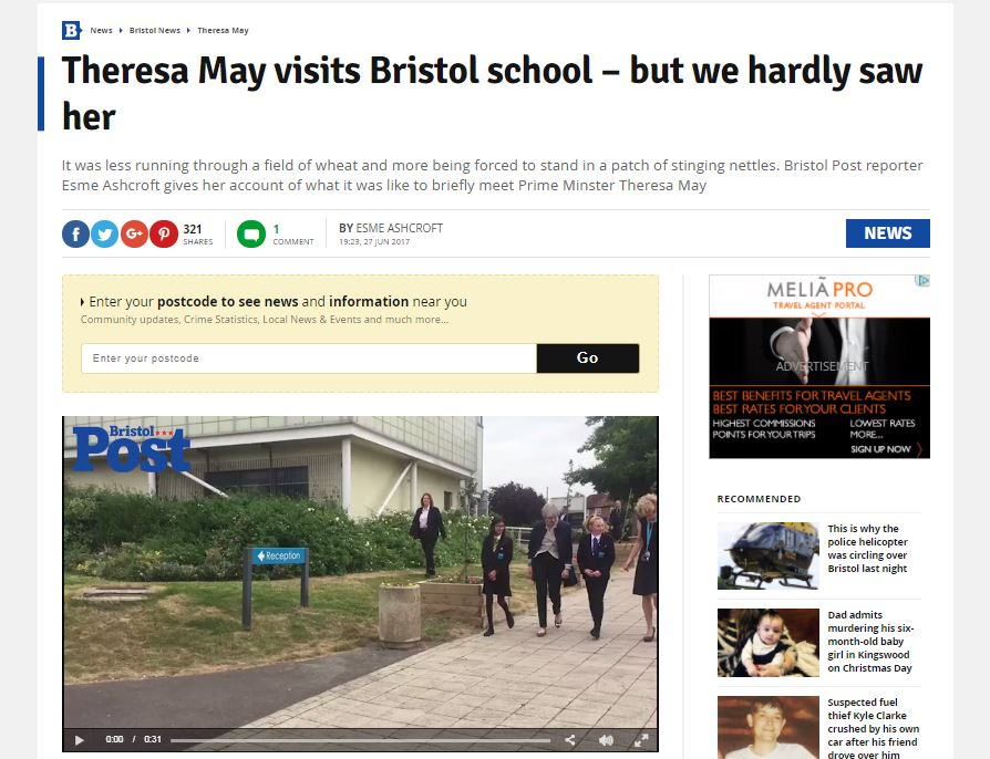 Covering Theresa May school visit was like 'being forced to stand in a patch of stinging nettles' says Bristol Post reporter