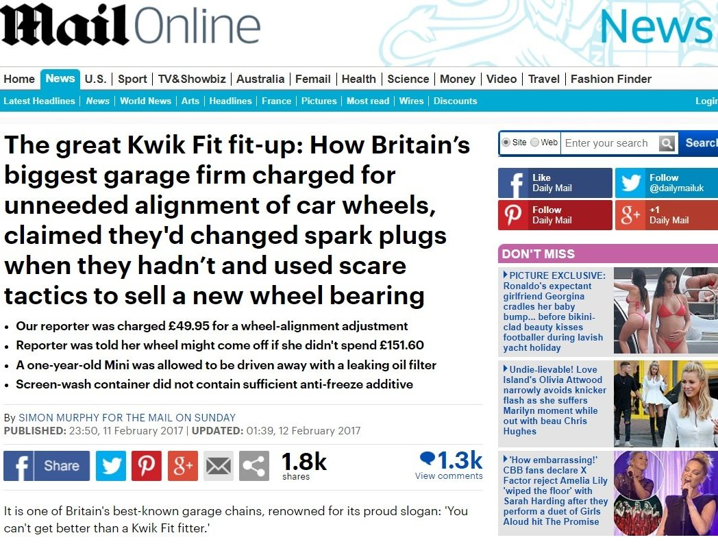IPSO dismisses complaints against Mail on Sunday probe into Kwik Fit garages