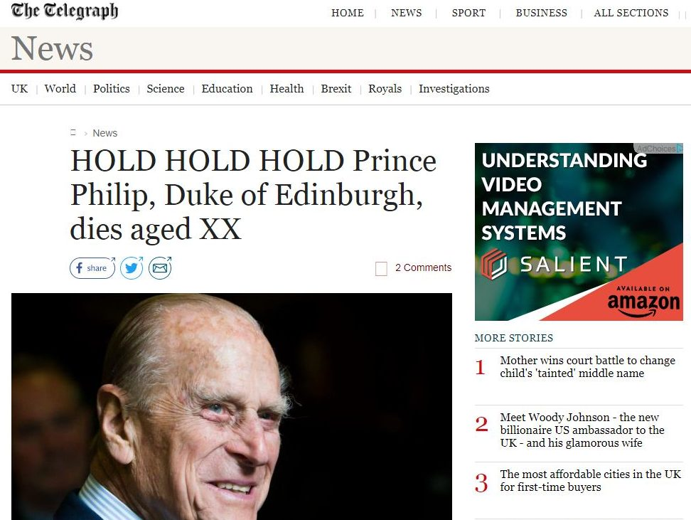 Telegraph publishes unfinished story wrongly announcing Prince Philip's death as he retires from royal duties