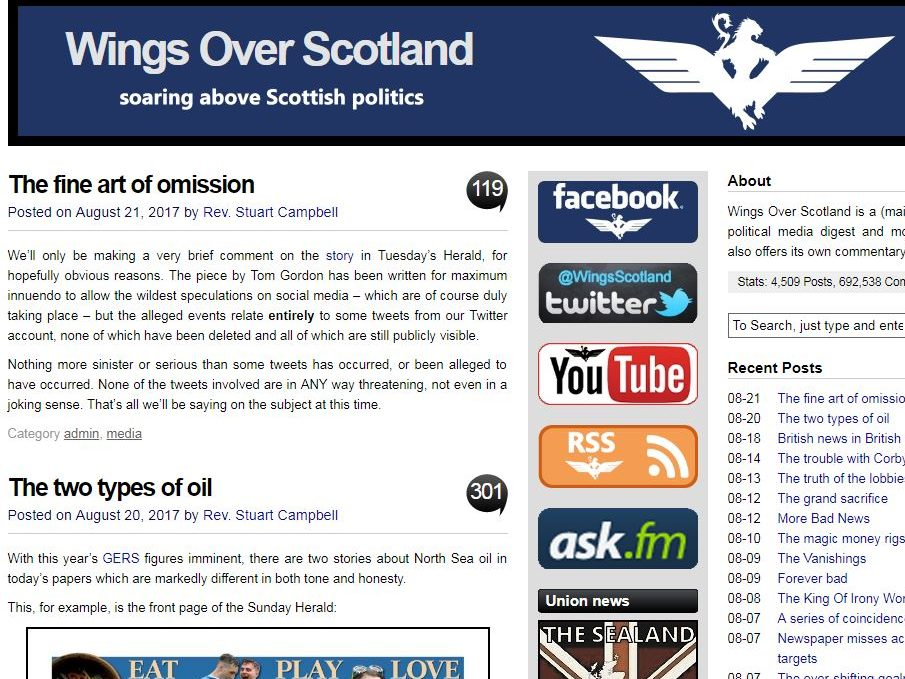 Wings Over Scotland blogger arrested over alleged online harassment