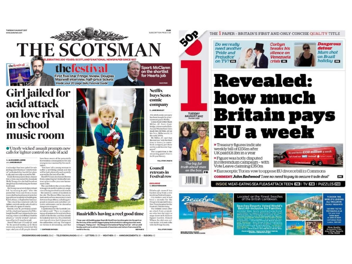 Johnston Press agrees three-year print deal with Trinity Mirror for i and Scotsman titles
