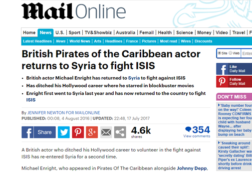 IPSO: Mail Online apologises to ISIS-fighting Pirates of the Caribbean actor and corrects claim he was 'kicked out' of Syria
