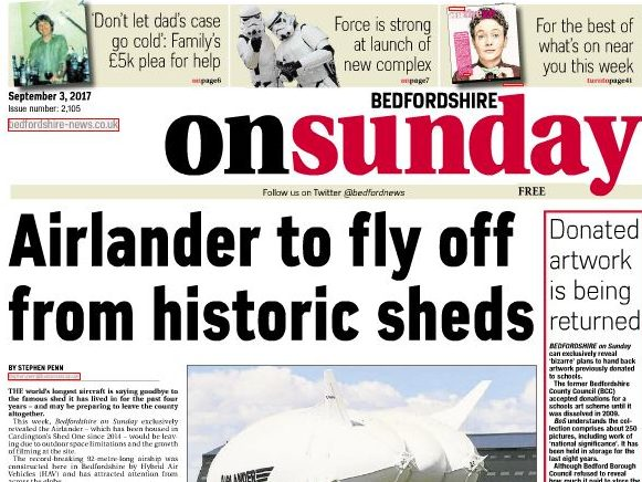 Bedfordshire on Sunday editor steps down as paper moves midweek and website closes