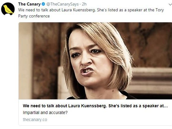 BBC says Kuenssberg will not speak at Tory conference after Canary story suggesting otherwise