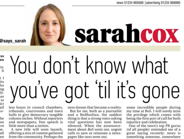 Final editor of Bedfordshire on Sunday publishes full version of editorial attacking Trinity Mirror cutbacks