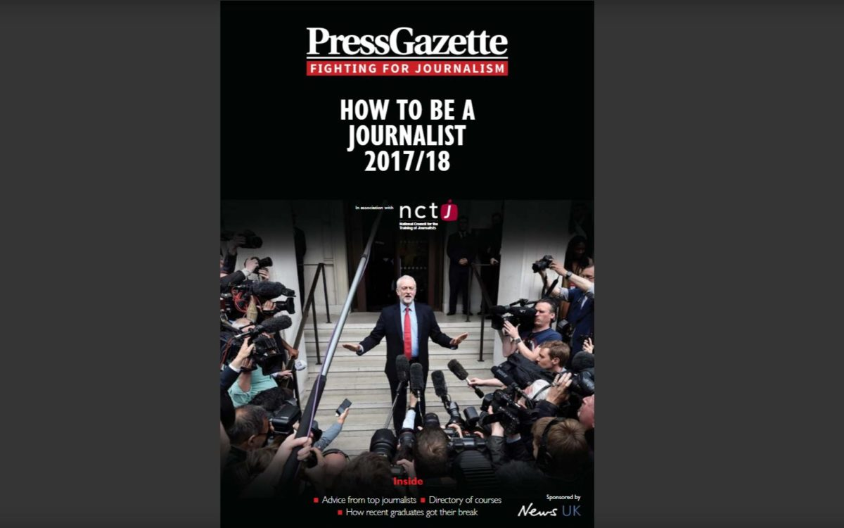 How to Be  a Journalist 2017/18: Free magazine plus directory of journalism training providers