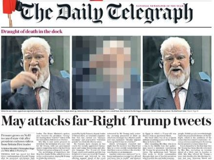 BBC heeds Samaritans' advice on moment Slobodan Praljak drank poison - Times and Telegraph put it on front page