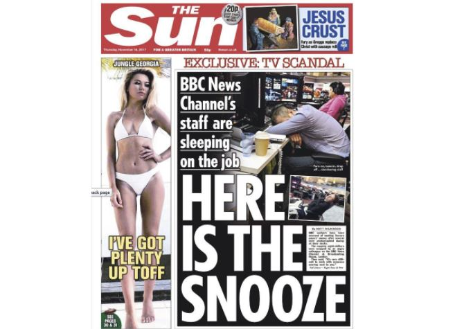 Snoozenight: Sun front page highlights pictures of journalists sleeping on the job in main BBC newsroom