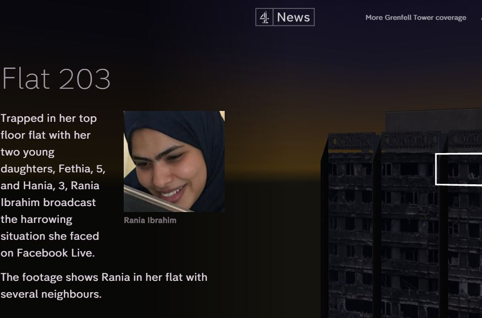 Channel 4 News tells the story of Grenfell Tower residents using detailed interactive website