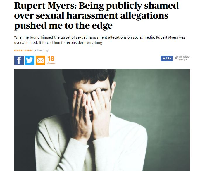 Former GQ reporter Rupert Myers writes in ES of help from Samaritans after media interest around his actions towards women