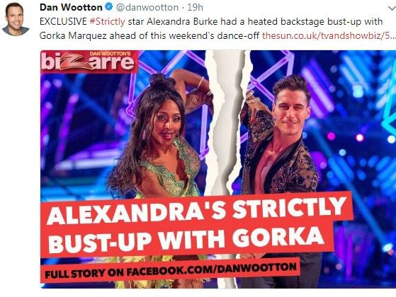 Sun showbiz columnist Dan Wootton says he 'would never write fake news' in row with Strictly star Alexandra Burke