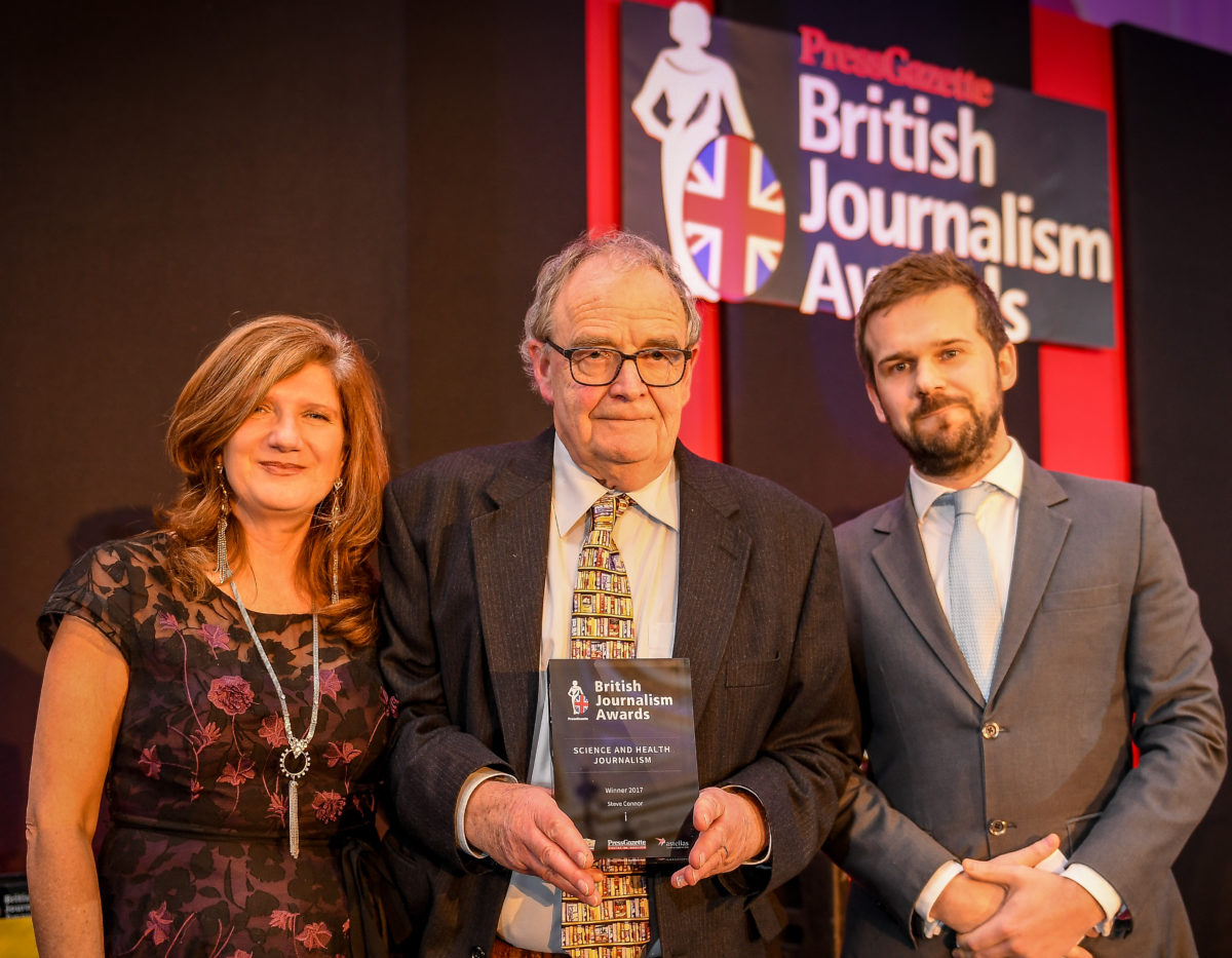 Science journalist Steve Connor takes aim at 'corrosive effect' of embargoes in British Journalism Awards acceptance speech penned prior to his death