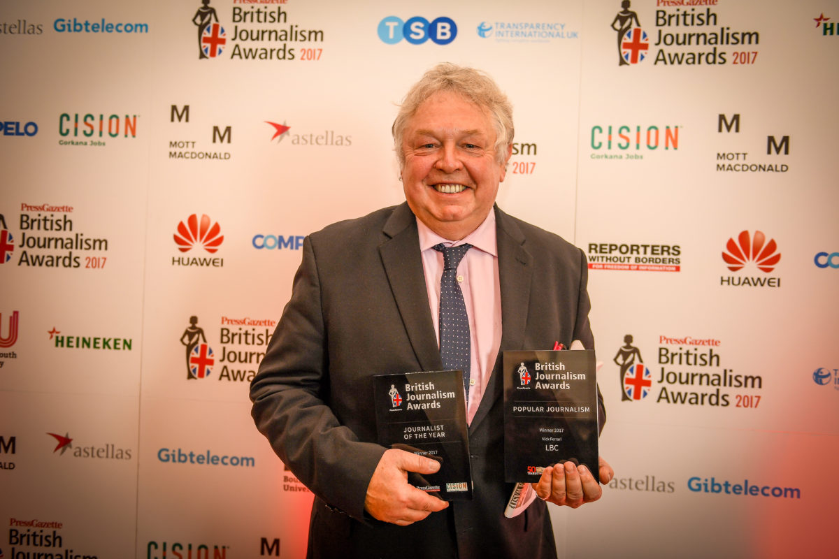 British Journalism Awards 2017: Nick Ferrari is journalist of the year, Inside Housing named top news provider