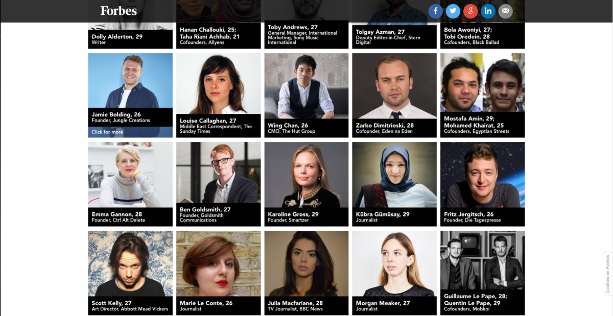 Six journalists working for UK-based news outlets featured on Forbes 30 Under 30 media list