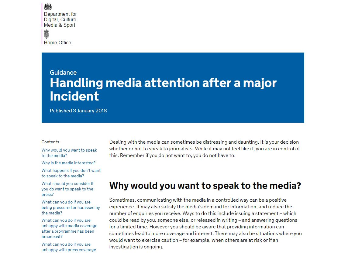 Speaking to media can be 'distressing' and 'daunting' - public should consider using  lawyer or PR company, government guidance says