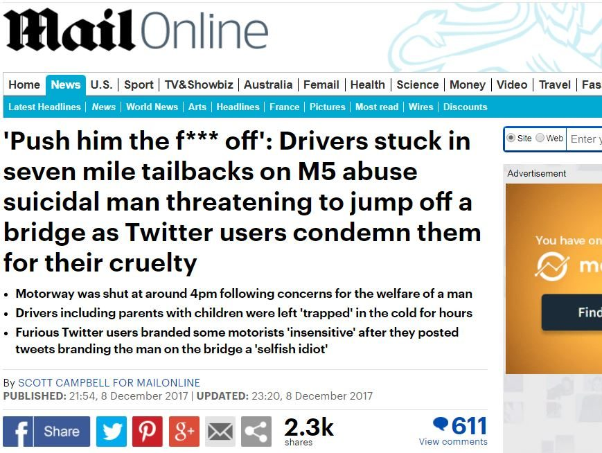 Mail Online's use of 'push him' suicide tweet in report did not breach man's privacy, IPSO rules
