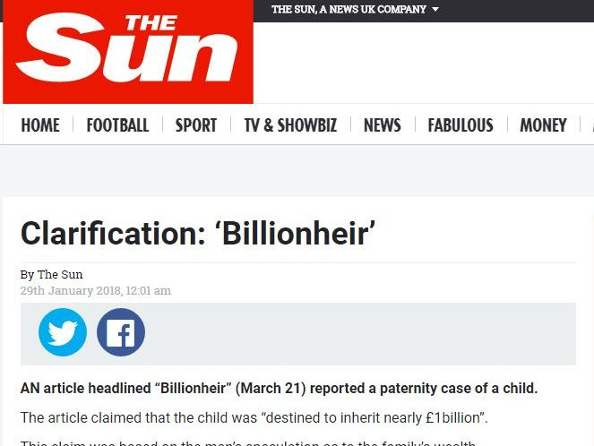 Times and Sun told to publish corrections over 'billionheir' stories after IPSO code breaches