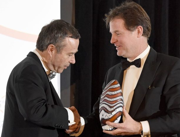 Financial Times editor Lionel Barber receives Media Society award for 'outstanding contribution to financial journalism'