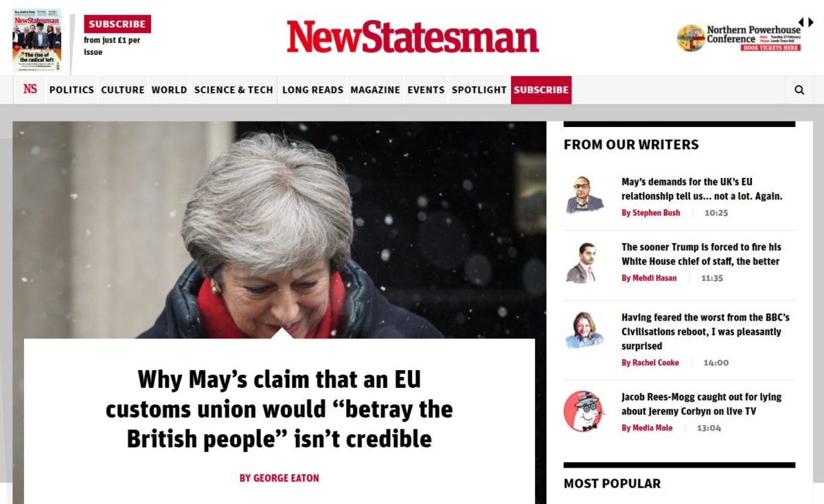 New Statesman to start charging for website access with metered paywall launch