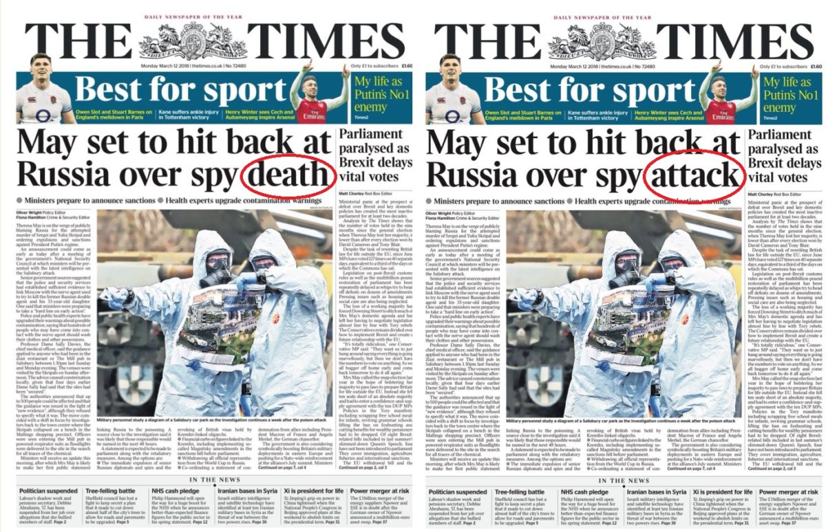 Times changes front page headline wrongly stating former Russian spy Sergei Skripal had died
