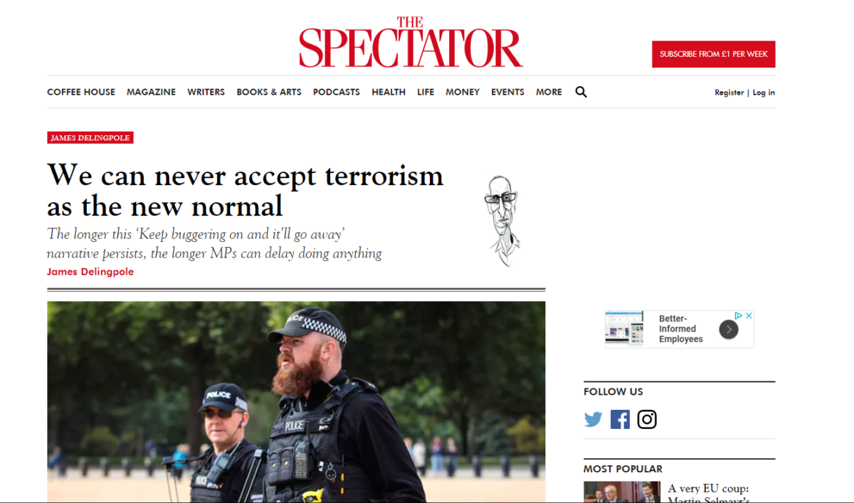 Claim in Spectator column that 32,000 Muslims are 'eager to commit next terror atrocity' was 'significantly inaccurate', rules IPSO