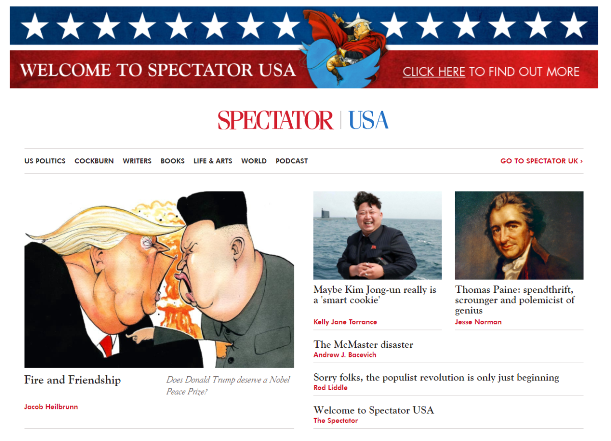 Spectator launches new US website which promises 'not to be crazily for or crazily against' President Donald Trump