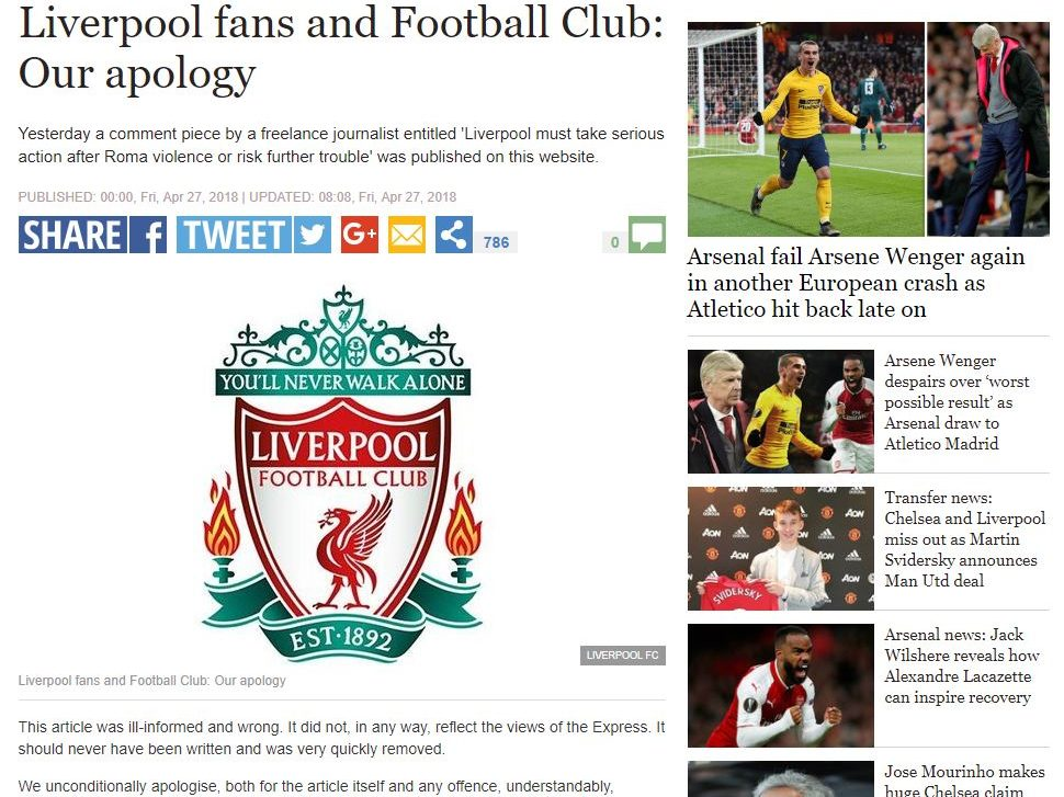 The Express apologises and suspends journalist over comment piece criticising Liverpool fans following pre-match violence