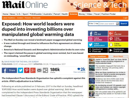 Mail on Sunday avoids second IPSO code breach despite repeating inaccurate global warming claims