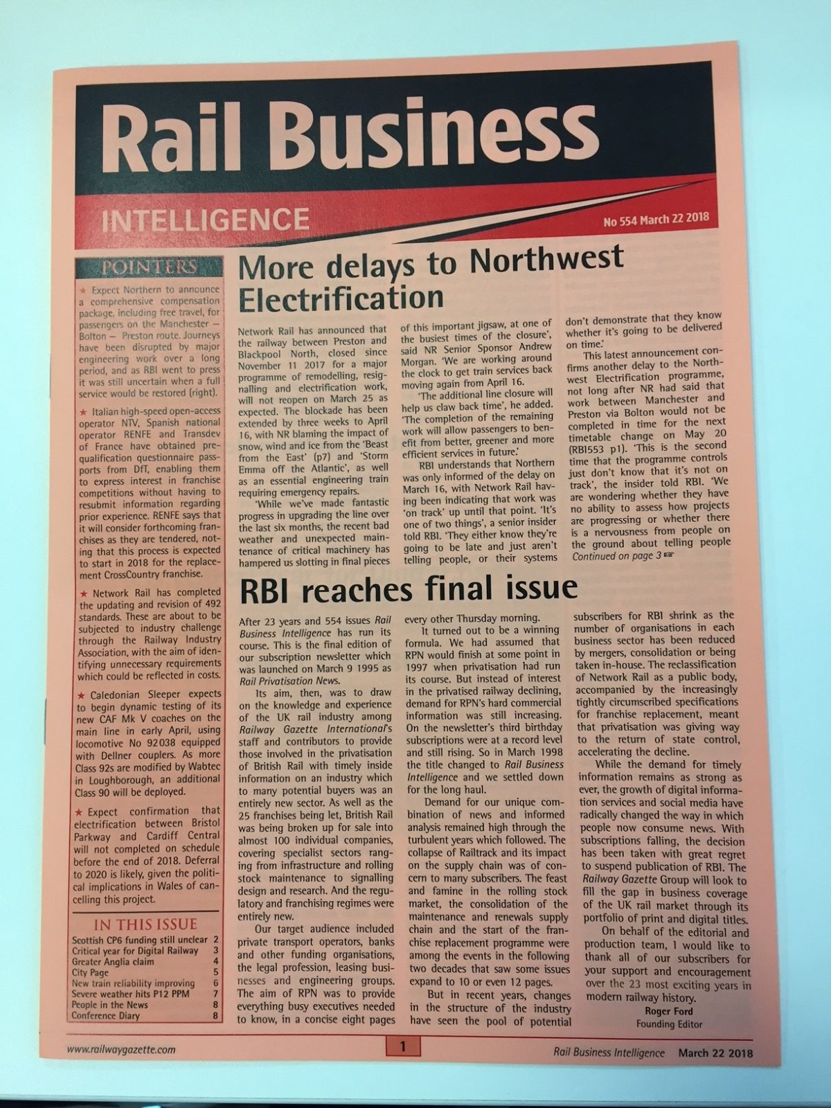 Print newsletter Rail Business Intelligence closes after 23 years as subscriptions fall in face of digital disruption